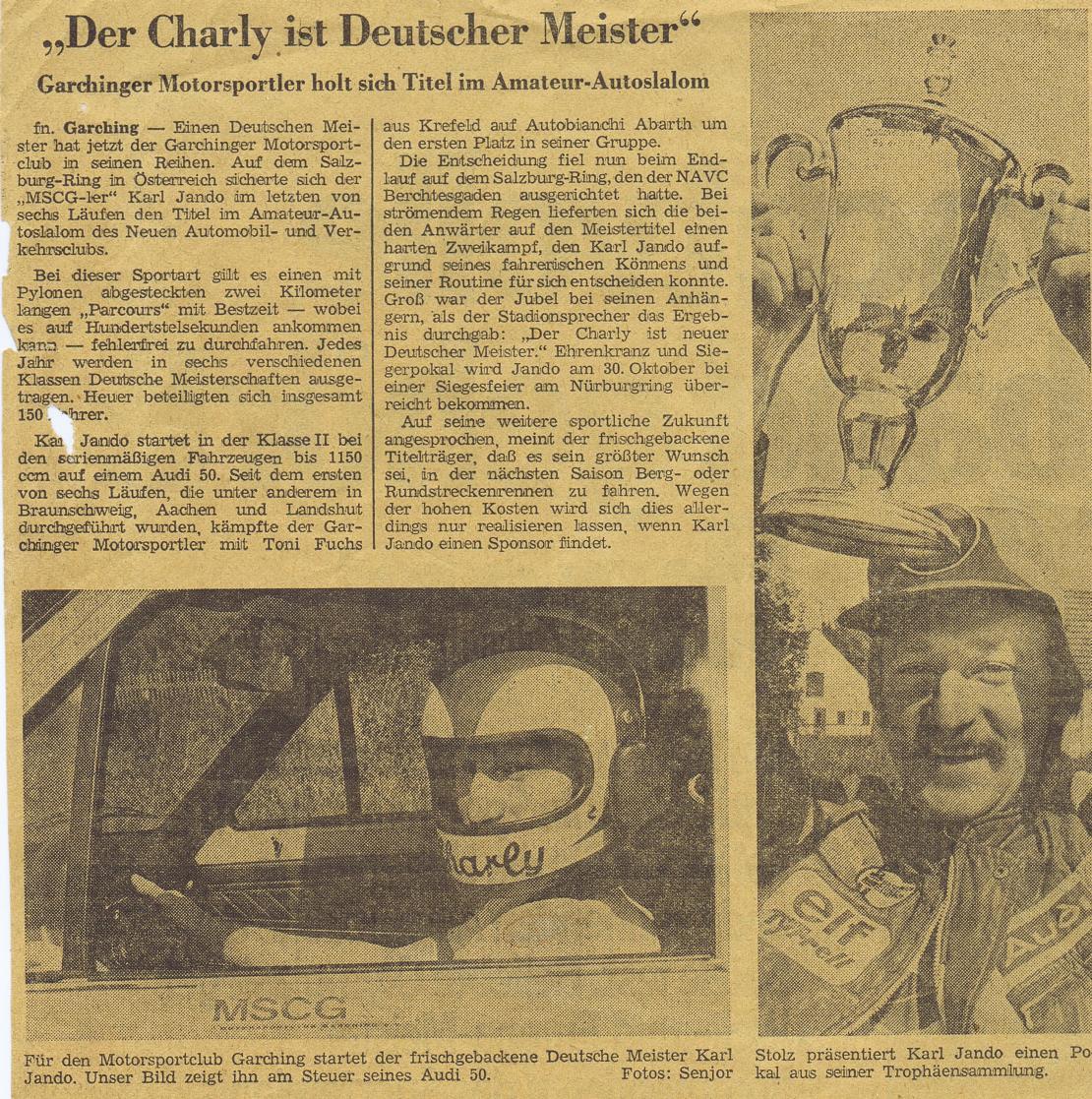 Süddeutsche Zeitung - Der Charly ist Deutscher Meister